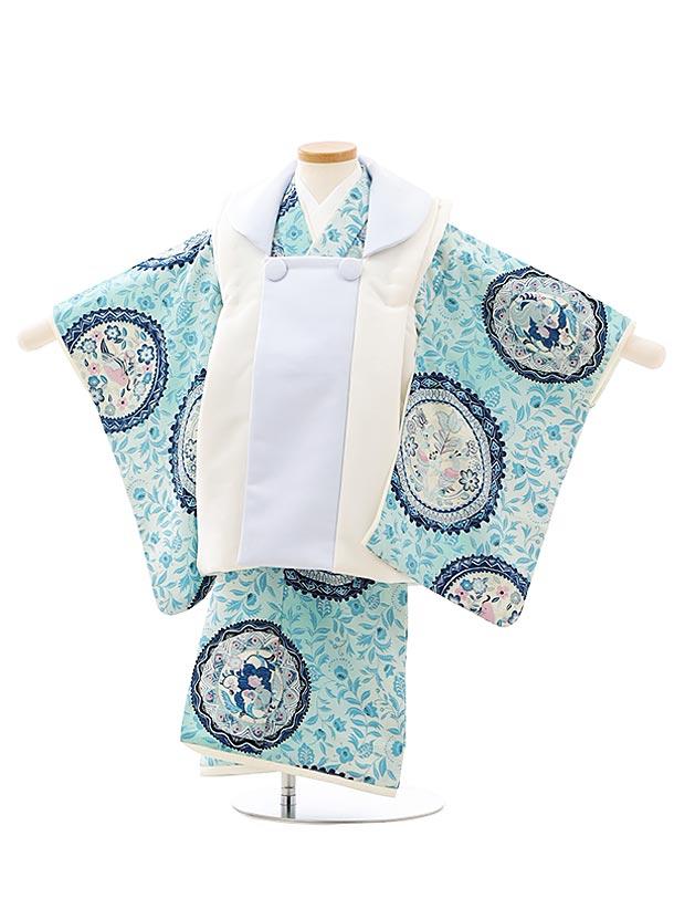 七五三レンタル(3歳男児被布)2753九重 白水色xブルー更紗