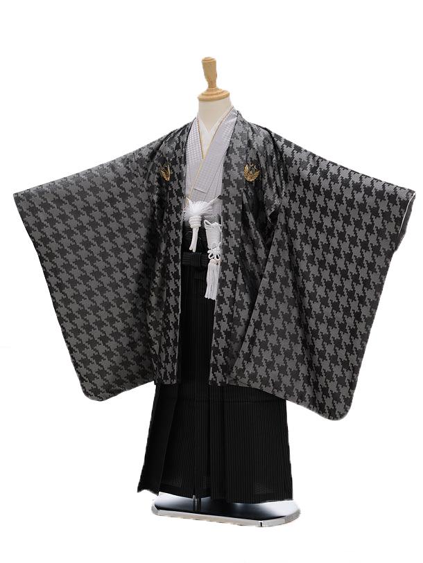かんたん七五三レンタル(5男袴)5101ひさかたろまん黒×黒地縞ラメ