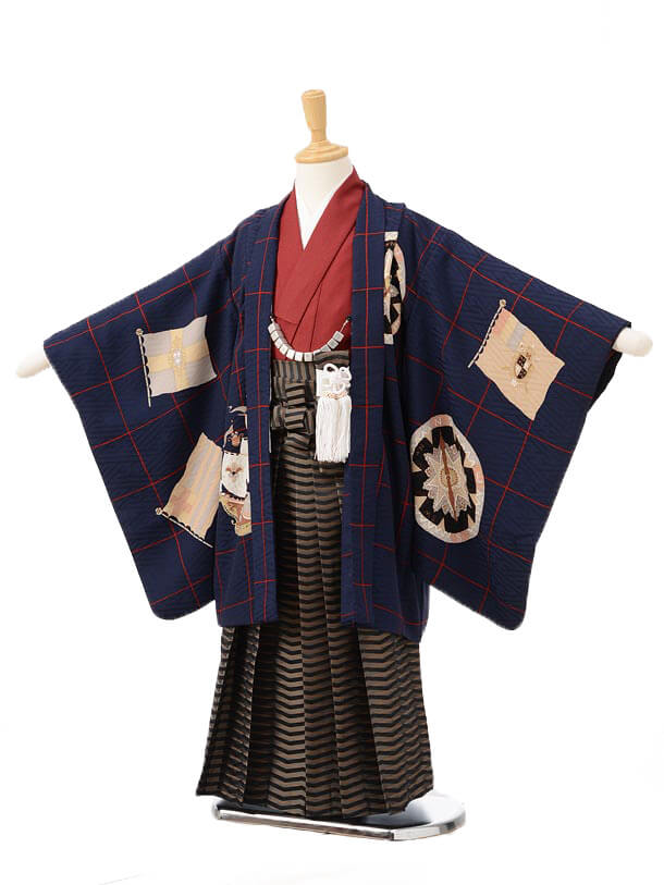 かんたん753レンタル(5歳男の子袴)05110モダンアンテナ紺 黄×黒茶縞袴