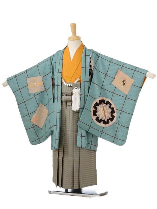 753レンタル(5歳男の子袴)05111モダンアンテナグリーン×カーキ袴