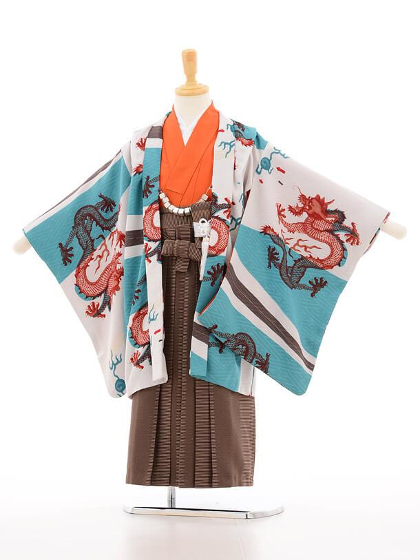簡単753レンタル(5歳男の子袴)5121モダンアンテナグリーン×茶色地縞袴