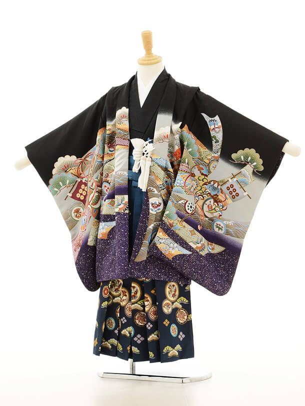七五三レンタル(5男袴)5134黒かぶと熨斗×ブルー地和柄袴