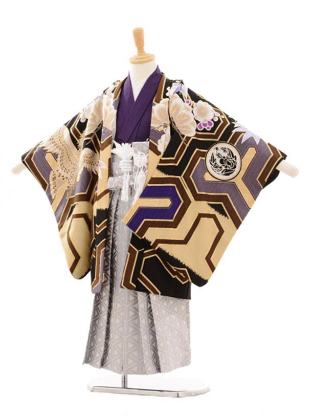 七五三レンタル(5歳男の子袴)5142JAPANSTYLE鷹/黒×グレー袴