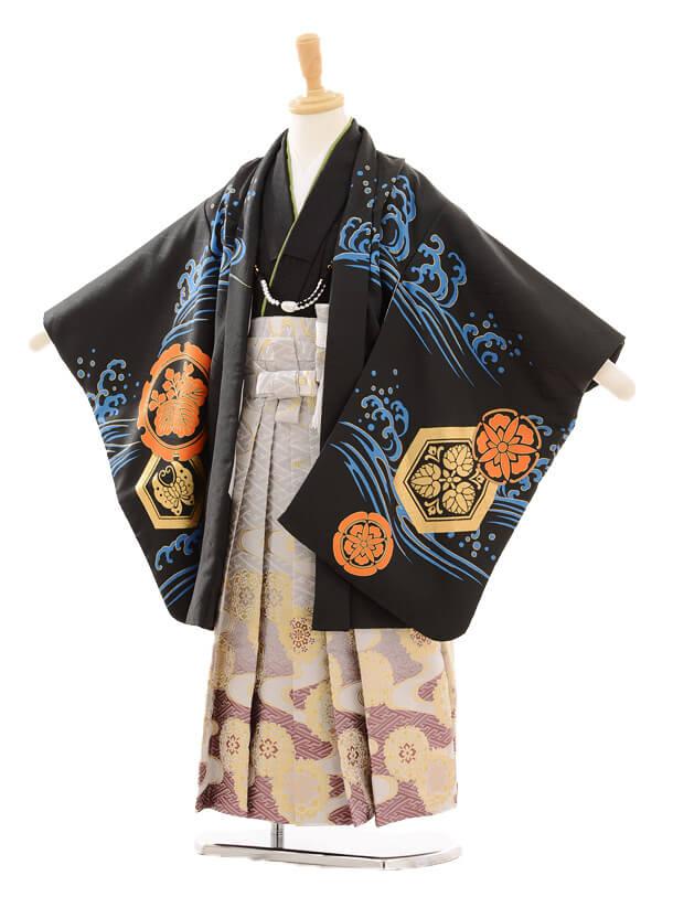 七五三レンタル(5男袴)5145花わらべ出世鯉/黒 流×グレー袴