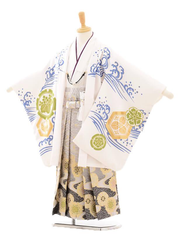 七五三レンタル(5男袴)5147花わらべ出世鯉/白 流×グレー袴