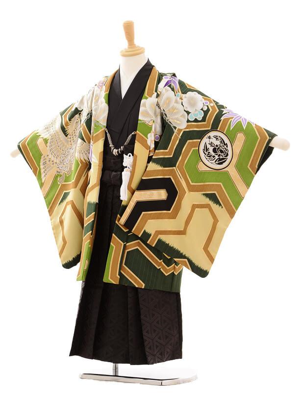 七五三レンタル(5歳男の子袴)5148JAPANSTYLE鷹/緑×黒地ラメ柄袴