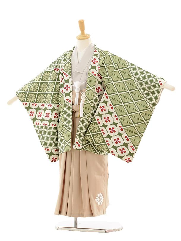 かんたん七五三レンタル(5歳男の子袴)5153鶴菱グリーン×ベージュ袴