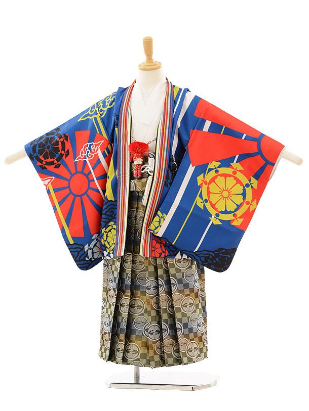 かんたん七五三レンタル(5歳男の子袴)5155青海青×カラフル和柄袴