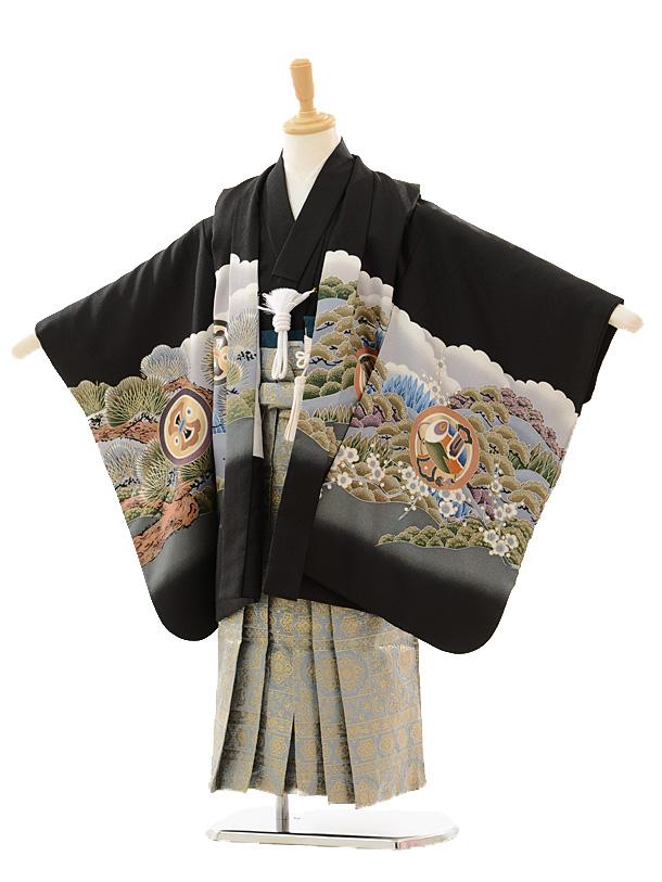 七五三(5歳男袴)5157 黒富士に鷹×グレーゴール