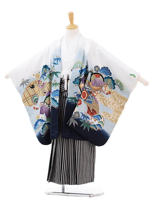 七五三(5歳男袴)5162 白地鷹にのし×白黒縞袴