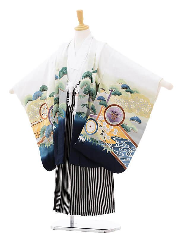 七五三(5歳男袴)5166 白地かぶとに丸紋×白黒縞袴