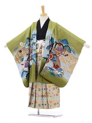七五三レンタル(5歳男の子袴)5171緑鷹にのし×白糸袴