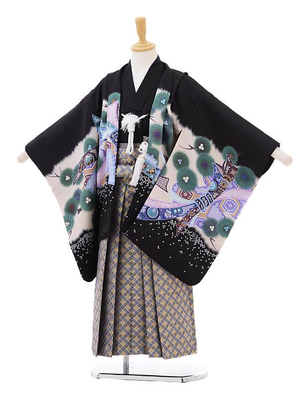 七五三(5歳男袴)5176 黒地のしめかぶと×グレー袴