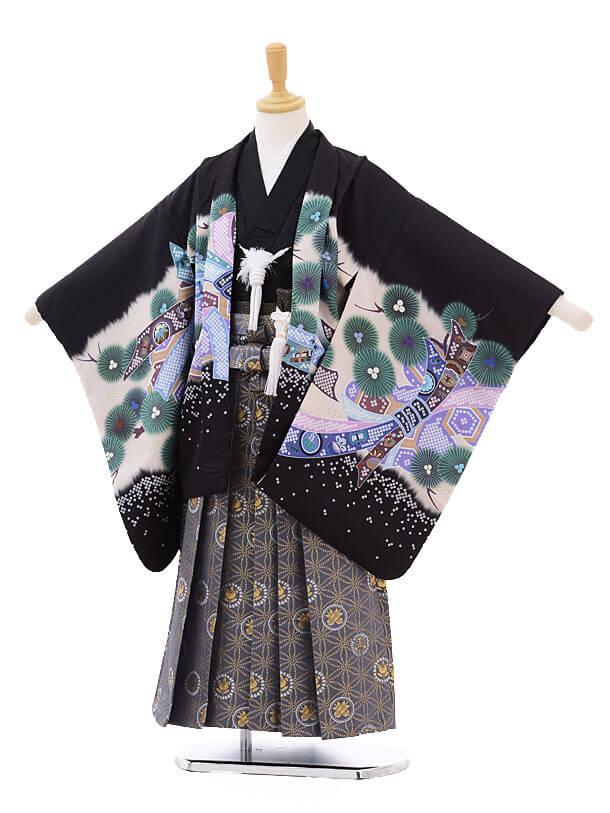 七五三(5歳男袴)5177 黒地のしめかぶと×グレー麻の葉に紋袴
