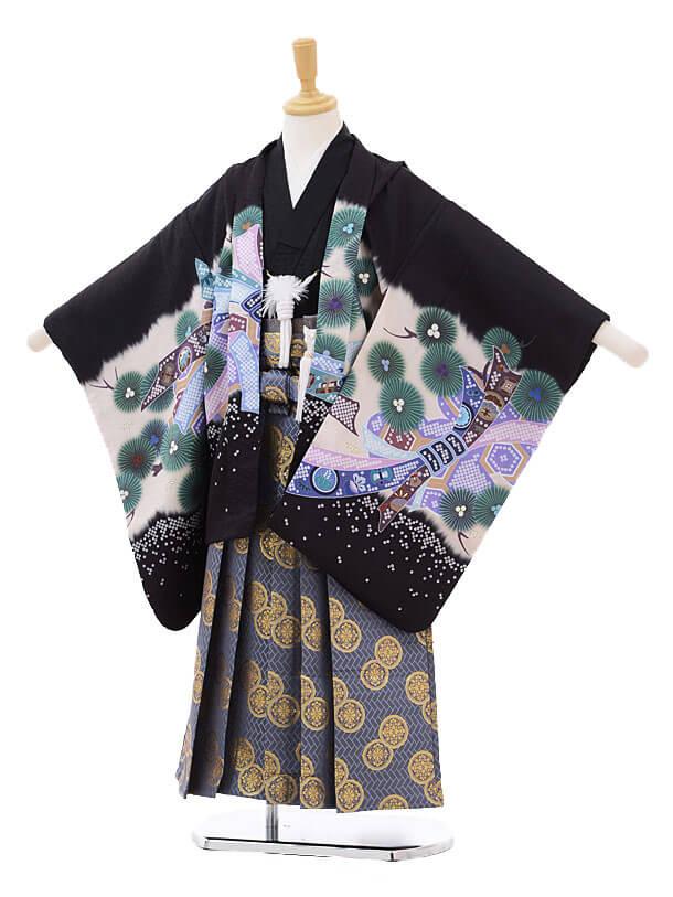 かんたん七五三レンタル(5歳男児袴)5178黒地のしめかぶと×ブルーグレー袴