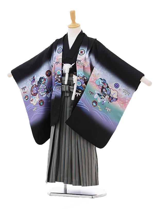 七五三(5歳男袴)5180 黒地鷹鼓×グリーン黒縞袴