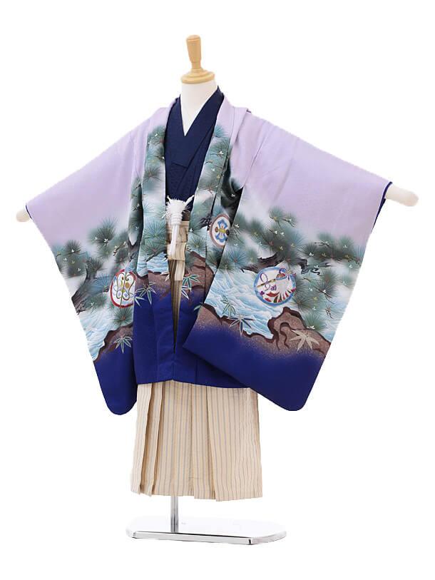 七五三(5歳男袴)5183 パープル地松かぶと×ベージュ袴