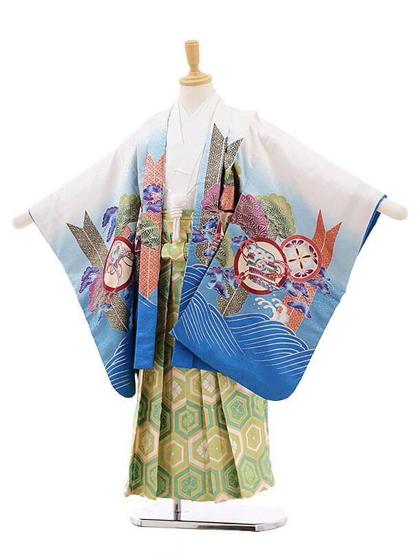 かんたん七五三レンタル(5歳男児袴)5189白ブルーぼかし波に鷹×グリーン袴