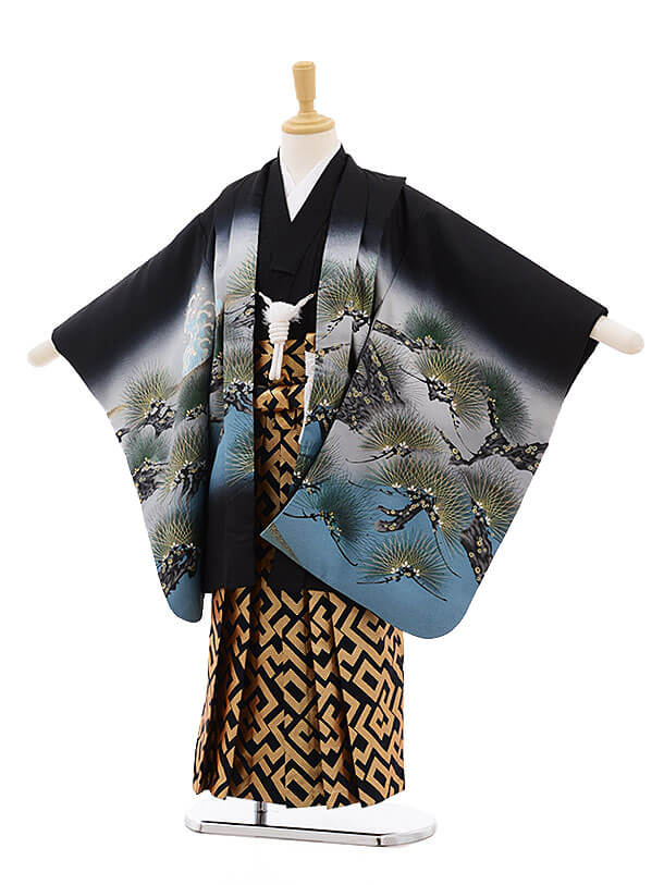 七五三レンタル(5歳男の子袴)5192黒地松に虎×紺地袴