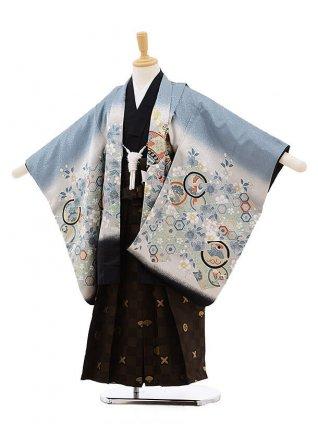 かんたん七五三レンタル(5歳男の子袴)5195グレー地桜に鷹×カーキ袴