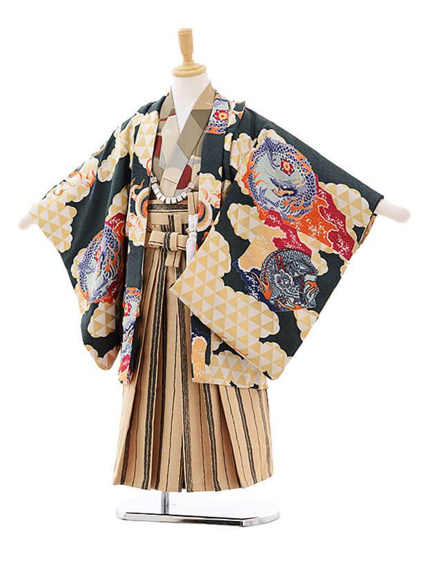 七五三レンタル(5歳男の子袴)5200モダンアンテナ雲龍と鱗×キャメル地袴