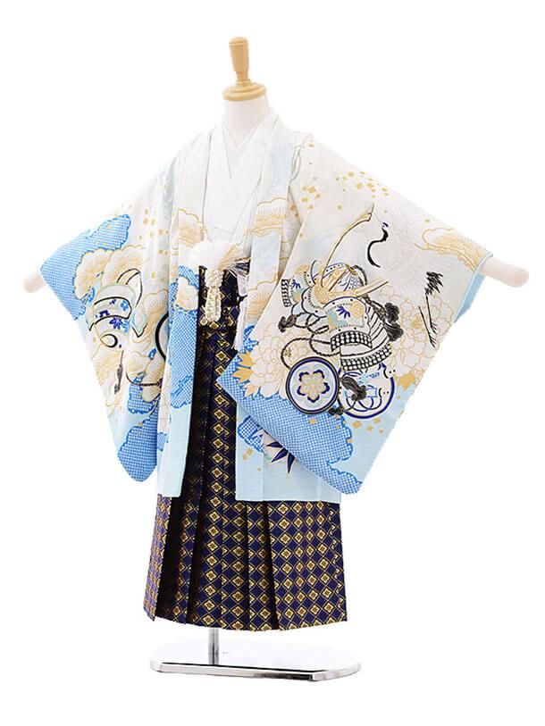 七五三レンタル(5歳男の子袴)5201乙葉宝船に兜白