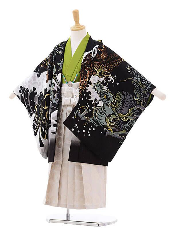 七五三(5歳男袴)5204 内田篤人×JAPAN STYLE 龍に富士 黒