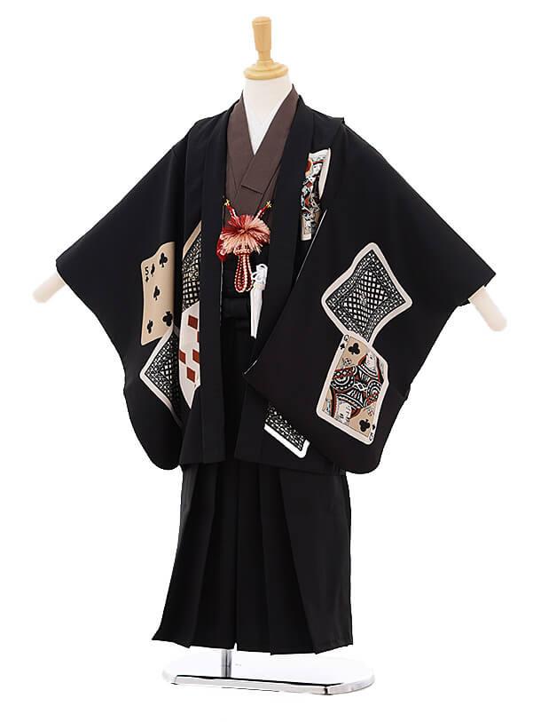 七五三レンタル(5歳男の子袴)5205 LILLI トランプ黒