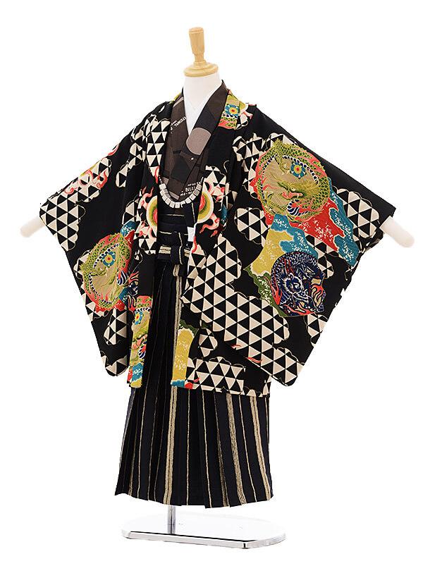 ▶七五三(5歳男袴)5207 モダンアンテナ 雲龍と鱗 黒
