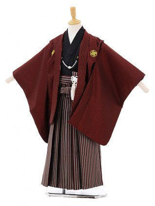 七五三レンタル(5歳男の子袴)5211花うさぎエンジ色ストライプ紋付×赤縞袴