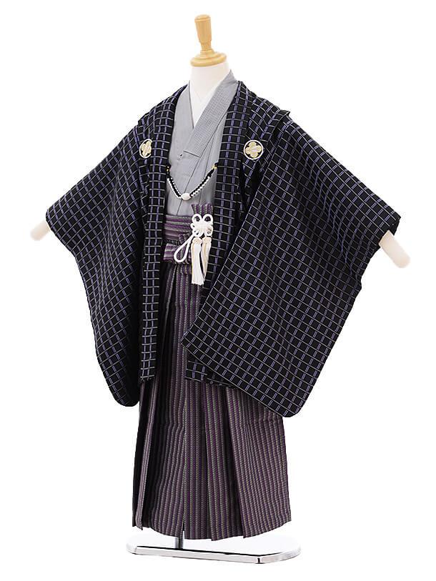 ▶七五三(5歳男袴)5212 花うさぎ 黒格子 紋付
