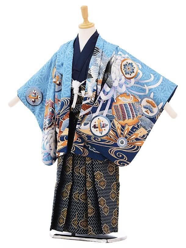 ▶七五三(5歳男袴)5221 ブルー地 大菊に鷹
