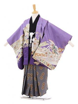 かんたん七五三レンタル(5歳男の子袴)5222パープル地かぶと鳳凰×灰青袴