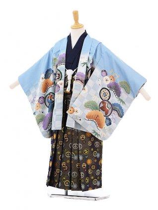 かんたん七五三レンタル(5歳男の子袴)5223水色地松竹梅にかぶと×紺地袴
