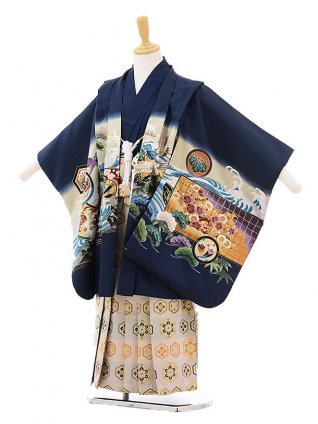 かんたん七五三レンタル(5歳男の子袴)5227紺地波にかぶと×ベージュ袴