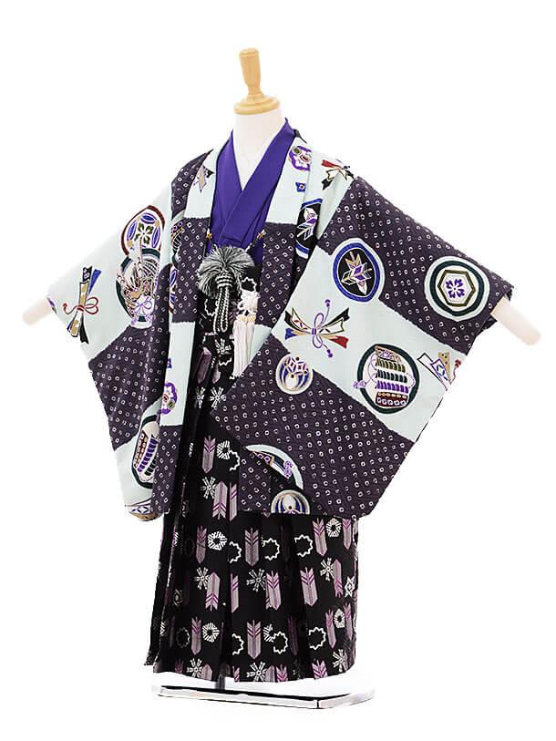 ▶七五三(5歳男袴)5229 式部浪漫 水色×紫丸紋