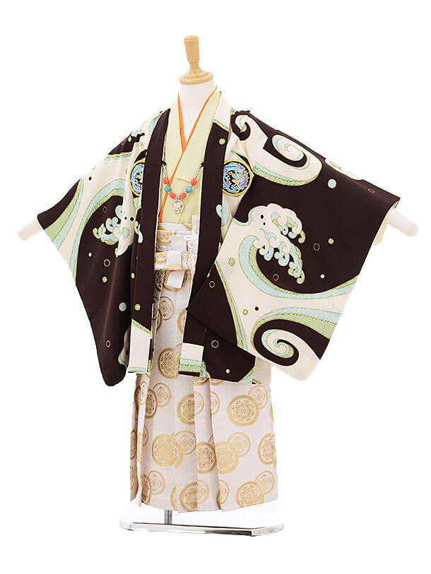▶七五三(5歳男袴)5231 ぷちぷり 茶色 波に龍紋