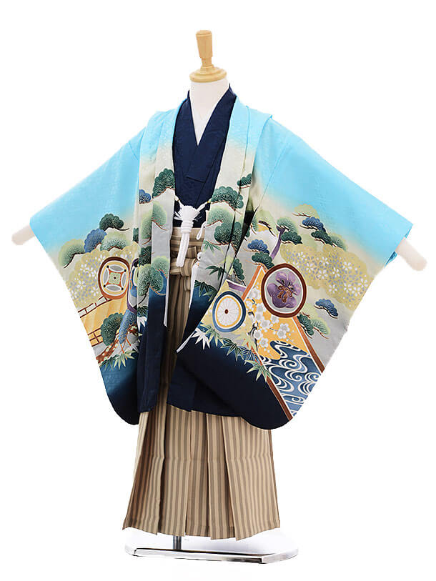 七五三(5歳男袴)5238 水色 松に丸紋 かぶと