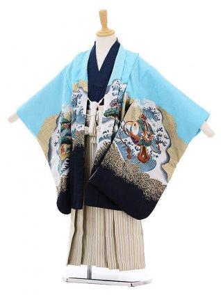 かんたん七五三レンタル(5歳男の子袴)5241水色鼓宝舟に鷹×ベージュ地袴