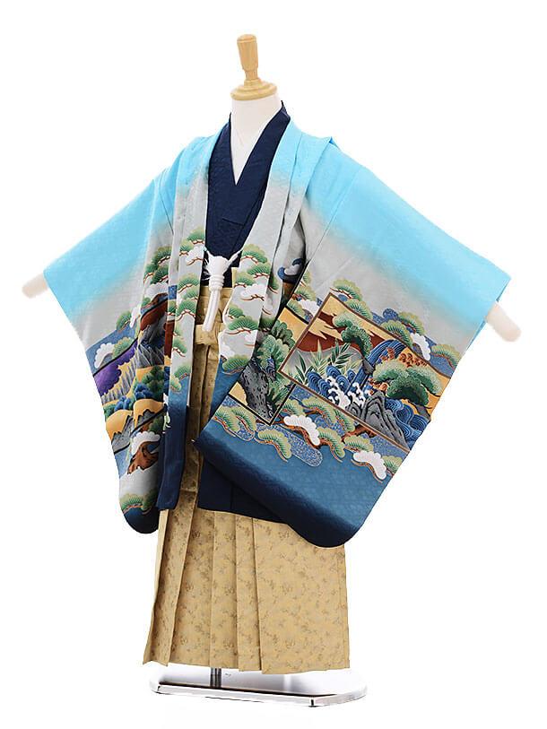 七五三(5歳男袴)5243 水色 松屏風に鷹