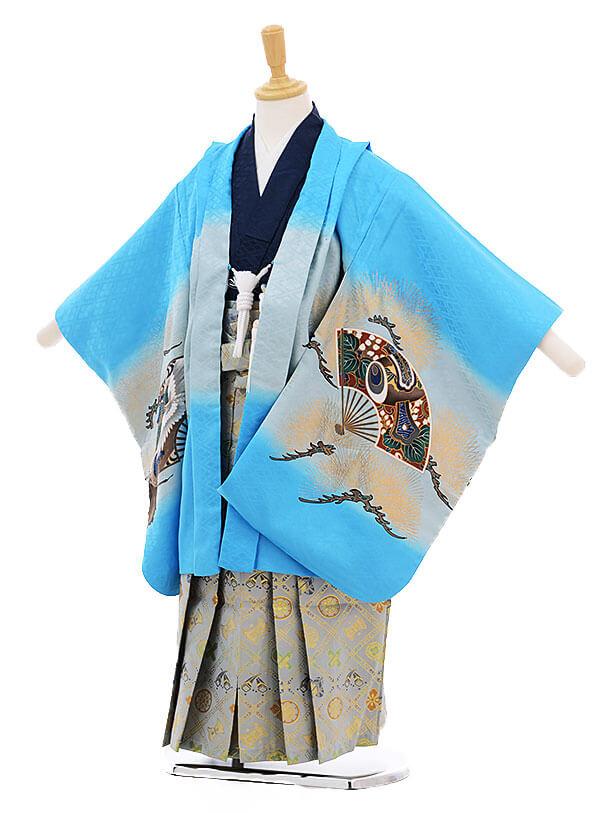 七五三(5歳男袴)5244 水色 扇に鷹