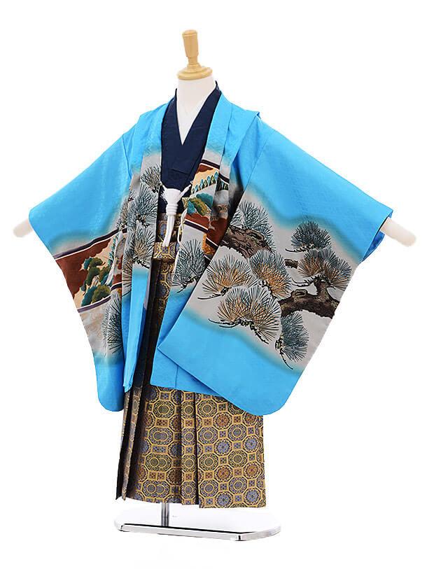 七五三(5歳男袴)5245 水色 松に鷹