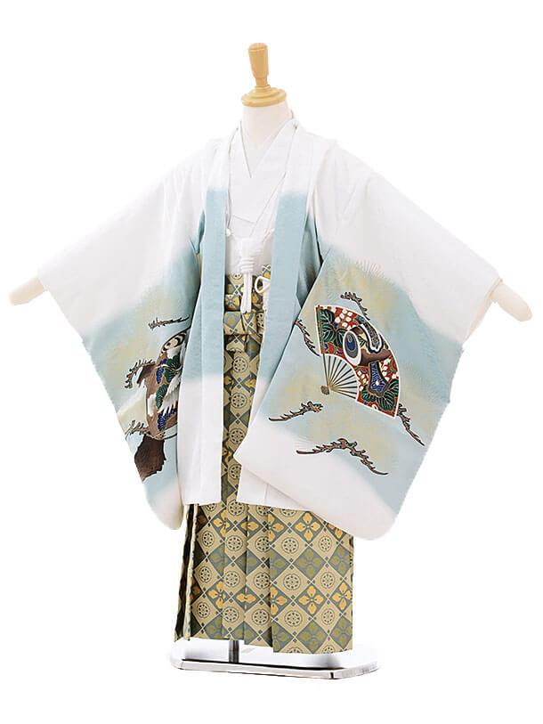 七五三(5歳男袴)5251 白地 扇に鷹