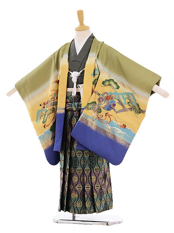 七五三(5歳男の子袴)5271 グリーン 富士に宝船
