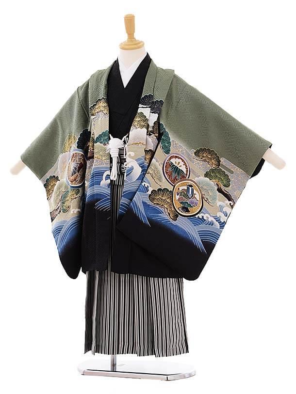 七五三レンタル(5歳男袴)5273 グリーングレー波に兜 (着物正絹)