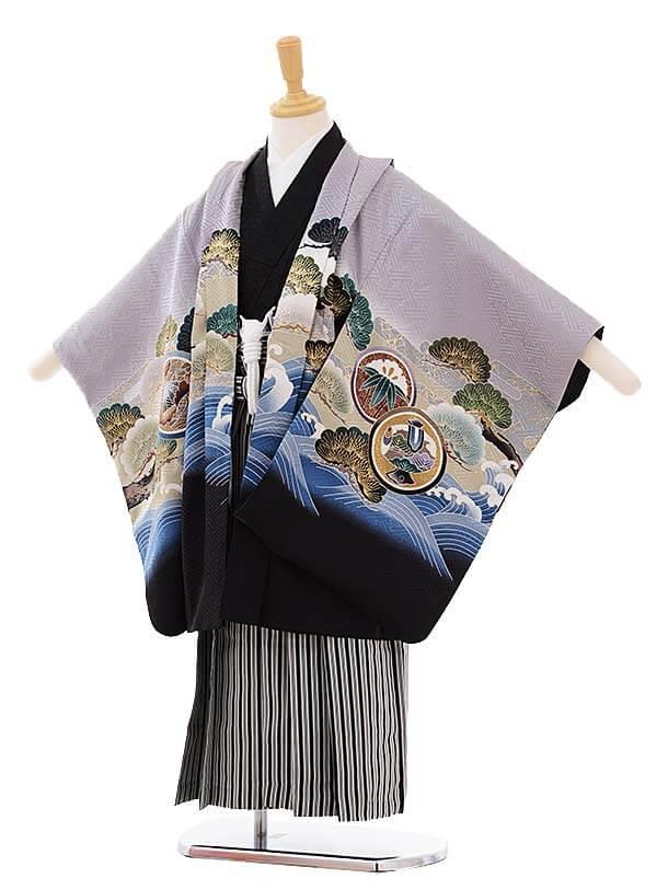 七五三レンタル(5歳男袴)5275 グレー波に兜 (着物正絹)