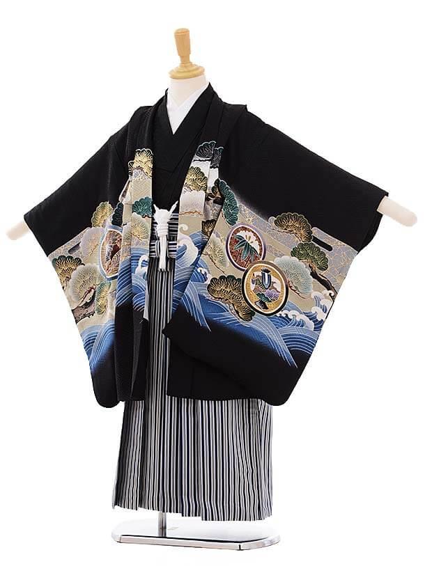 七五三レンタル(5歳男袴)5277 黒地 波に兜 (着物正絹)