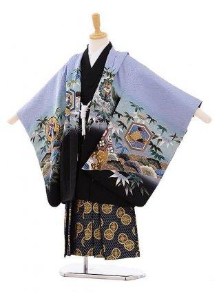 かんたん七五三(5歳男袴)5278 ブルーグレー鷹 (羽織正絹)×紺地袴