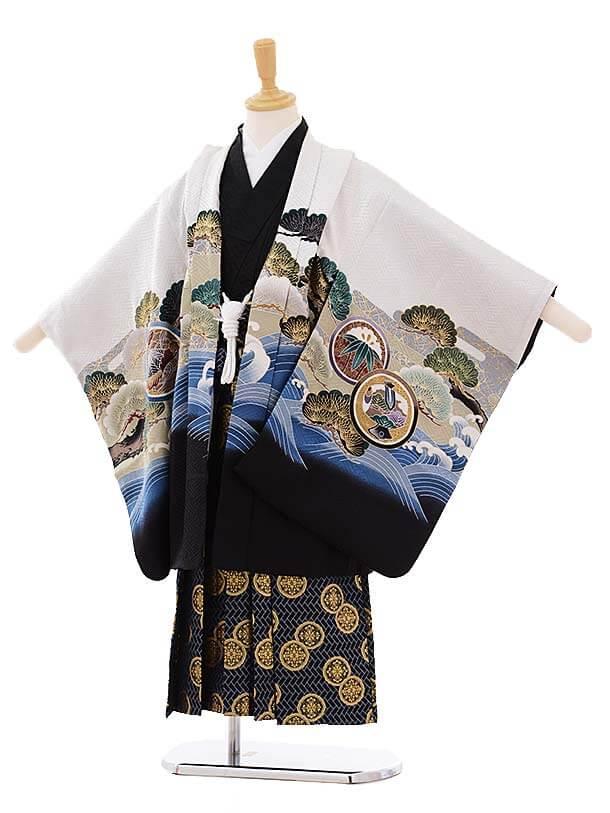 七五三レンタル(5歳男袴)5279 白地 波に兜 (着物正絹)