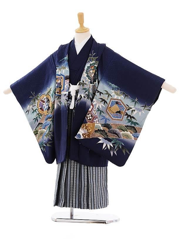 七五三レンタル(5歳男袴)5280 紺地 鷹 (着物正絹)